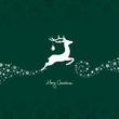Flying Reindeer, Christmas Ball & Snowflakes Green Background