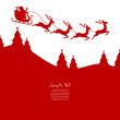 Christmas Sleigh Flying Red Background