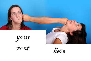 young woman fighting with space for your advertising copy