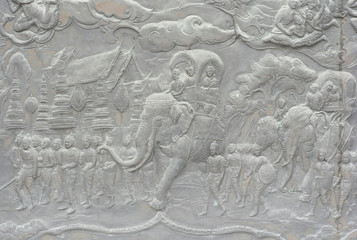 National Thai pattern on low relief sculpture,story of Buddha
