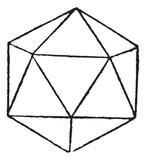 Regular Icosahedron vintage engraving poster