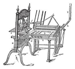 Washington hand press vintage engraving