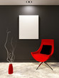 Red armchair with pillow and white blank on the black wall in mi