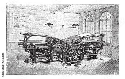 Marinoni  double printing press vintage engraving - 35081136