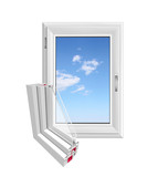 White PVC window and its cut away section