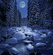 winter night scenery with mountain river