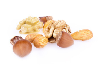walnuts, hazelnuts and almonds