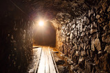 Mine tunnel with path - historical gold, silver, copper mine.
