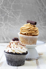 Coffee and chocolate cupcakes.