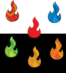 Set of colorful fire flames