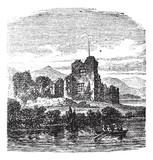 Ruins of Castle Ross, Killarney, Ireland vintage engraving