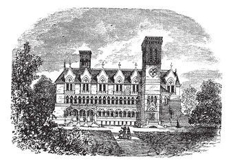 Purdue University, West Lafayette, Indiana, vintage engraving