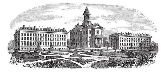 Bates College in Lewiston, Maine, vintage engraving
