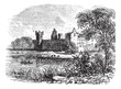 Ruins of Linlithgow Palace, West Lothian, Scotland, vintage engr