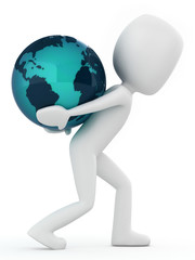 3D Render of a Man carrying earth