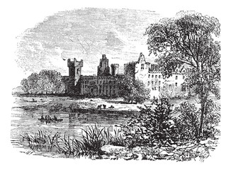 Ruins of Linlithgow Palace, West Lothian, Scotland, vintage engr