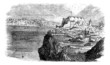 Lisbon, view from the south bank of the Tagus, vintage engraving
