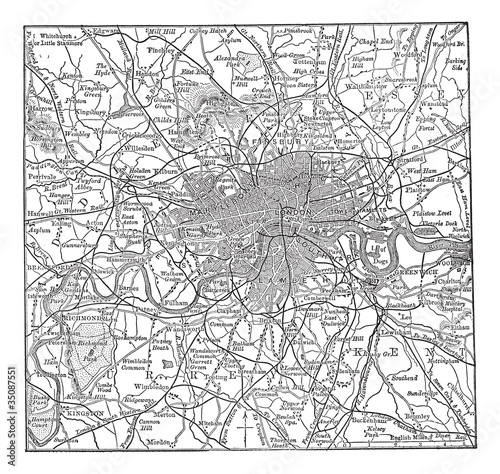 London and its environs vintage engraving