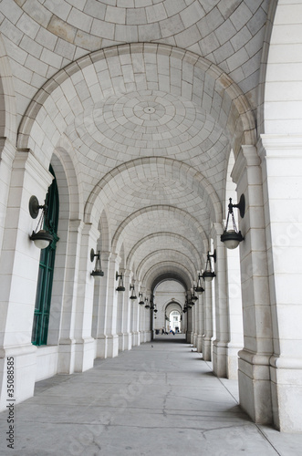 Columns of Union Station in Washington DC USA