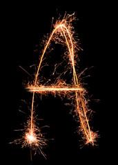 Letter A. Real sparkler alphabet