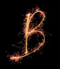 Letter B. Real sparkler alphabet