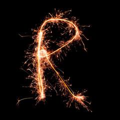 Letter R. Real sparkler alphabet