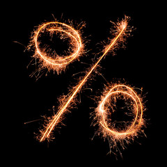 Percent sign. Real sparkler alphabet