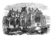 Melrose Abbey, Scotland, vintage engraving