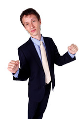 Businessman gesturing OK in studio