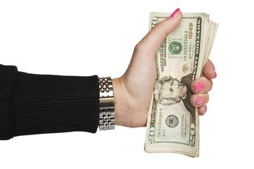 Female hand holding cash money