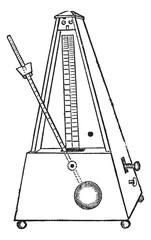 Metronome isolated on white, vintage engraving