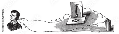 Microphone, an acoustic-to-electric transducer, vintage engravin