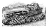 Egyptian mummy and sarcophagus (British Museum), vintage engravi poster