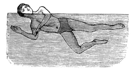Sidestroke, vintage engraved illustration