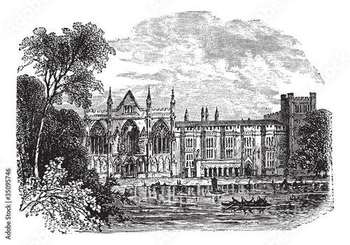 Newstead Abbey in Nottinghamshire, England, UK, vintage engraved