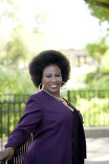 Older African American Woman Outdoor portrait purple