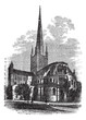 Norwich Cathedral in Norfolk, England, UK, vintage engraved illu