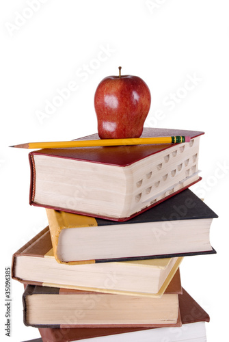Hardbound Book Stack with Apple and Pencil