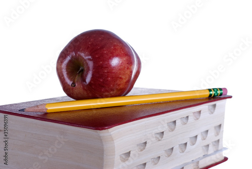 Red Book with Red Apple and Pencil