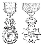 Military Medal, Cross of the Legion of Honor, vintage engraving poster
