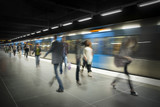 Blurred people on subway platform - 35097172
