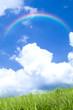 草原と雲と虹