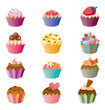 cartoon cake icons set.
