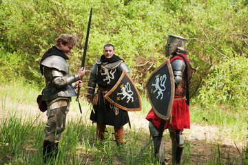 Knights in armour before fight