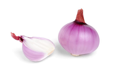 Red  onion  isolation on  white  background
