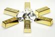 Goldbarren und Diamanten