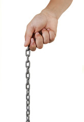 boy's hand holding a chain