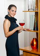 attractive woman with wine