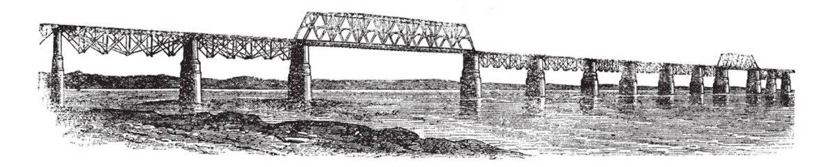 Viaduct Bridge at Louisville, Kentucky, Ohio, USA, vintage engra