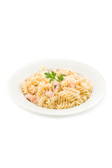 Pasta Panna e Salmone - Isolated